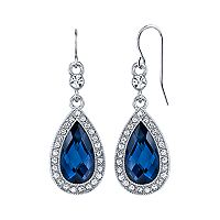 1928 Blue Halo Teardrop Earrings