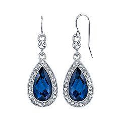1928 Blue Halo Teardrop Earrings