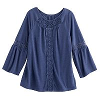 Girls 7-16 Mudd® Crochet Inset Peasant Top