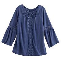 Girls 7-16 Mudd® Crochet Inset Peasant Top