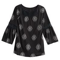 Girls 7-16 Mudd® Lace Inset Pattern Peasant Top