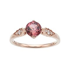 LC Lauren Conrad 10k Rose Gold Tourmaline & 1/10 Carat T.W. Diamond Ring