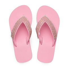 Girls 4-16 Rhinestone Wedge Flip Flops
