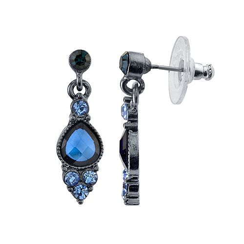 1928 Blue Stone Cluster Teardrop Earrings