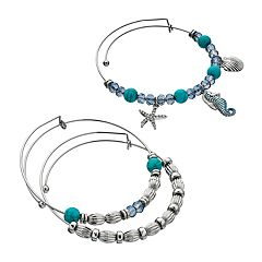 Seahorse, Seashell & Starfish Charm Bangle Bracelet Set