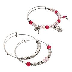 Flamingo, Palm Tree & Pineapple Charm Bangle Bracelet Set