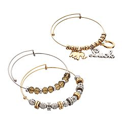 'Luck' Elephant & Horseshoe Charm Bangle Bracelet Set