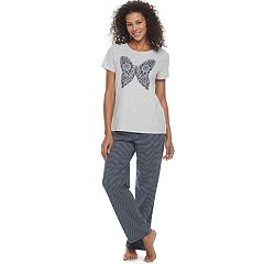 Women's Croft & Barrow® Pajamas: Knit Short Sleeve Top & Pants 2-Piece PJ Set