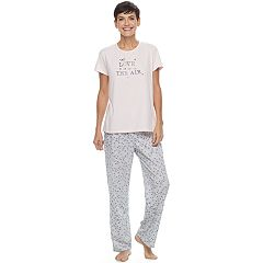 Women's Croft & Barrow® Pajamas: Knit Short Sleeve Top & Pants 2-Piece PJ Set