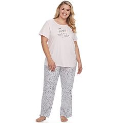 Plus Size Croft & Barrow® Pajamas: Knit Short Sleeve Top & Pants 2 pc PJ Set