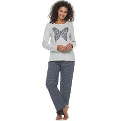 Women's Croft & Barrow® Pajamas: Knit Long Sleeve Top & Pants 2-Piece PJ Set