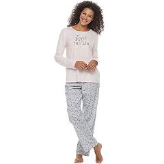 Women's Croft & Barrow® Pajamas: Knit Long Sleeve Top & Pants 2 pc PJ Set
