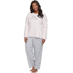 Plus Size Croft & Barrow® Pajamas: Knit Long Sleeve Top & Pants 2 pc PJ Set