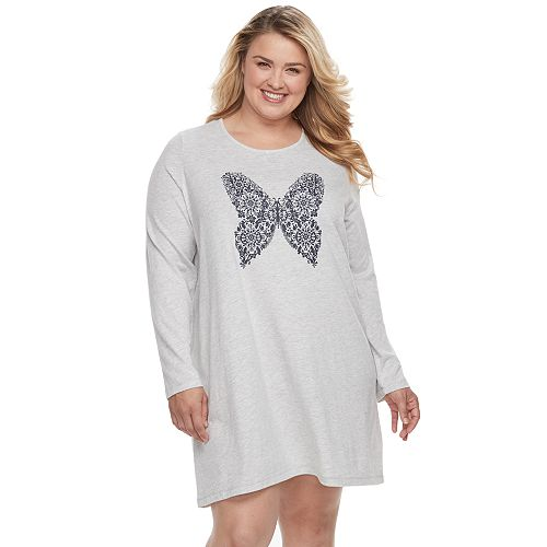da60057f4b3 Plus Size Croft   Barrow® Pajamas  Knit Long Sleeve Sleep Shirt