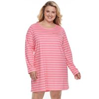 Plus Size Croft & Barrow® Pajamas: Knit Long Sleeve Sleep Shirt