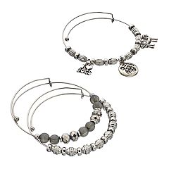 Dog Charm Bangle Bracelet Set