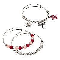Dragonfly & Flower Charm Bangle Bracelet Set