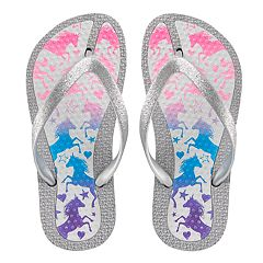 Girls 4-16 Elli by Capelli Unicorn Print Jelly Flip Flops