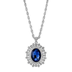 1928 Blue Oval Filigree Pendant Necklace