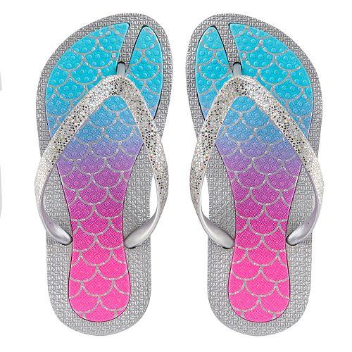 fd8989d00a2 Girls 4-16 Elli by Capelli Mermaid Ombre Jelly Flip Flops