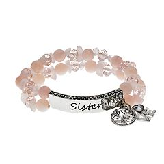 Pink 'Sister' Faceted & Stone Bead Stretch Bracelet