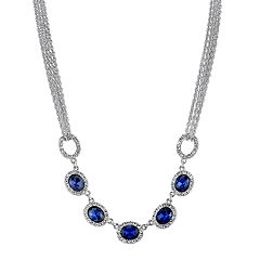 1928 Blue Oval Halo Multi Strand Necklace