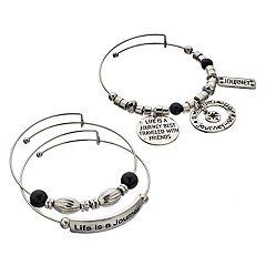 'Life Is A Journey' Bangle Bracelet Set