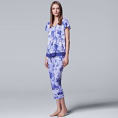 Women's Simply Vera Vera Wang Pajamas: Short Sleeve Top & Capri Pants Set