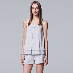 Women's Simply Vera Vera Wang Pajamas: Tank & Boxer Shorts Set