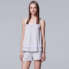 Women's Simply Vera Vera Wang Pajamas: Tank & Boxer Shorts Set