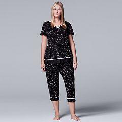 Plus Size Simply Vera Vera Wang Pajamas: Short Sleeve Top & Capri Pants Set