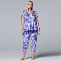Plus Size Simply Vera Vera Wang Pajamas: Short Sleeve Top & Capri Pants Set