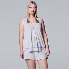 Plus Size Simply Vera Vera Wang Pajamas: Tank & Boxer Shorts Set