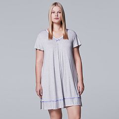 Plus Size Simply Vera Vera Wang Pajamas: Short Sleeve Sleepshirt
