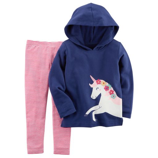 Baby Girl Carter's Unicorn Hoodie & Striped Leggings Set