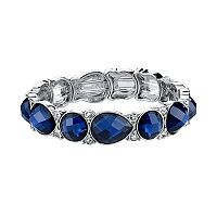 1928 Blue Round & Teardrop Station Stretch Bracelet