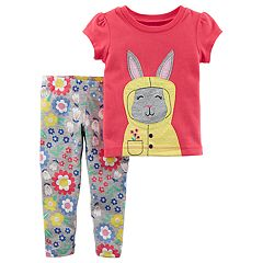 Baby Girl Carter's Bunny Tee & Floral Leggings Set