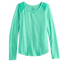 Girls 7-16 SO® Lace Shoulder Criss-Cross Neck Tee