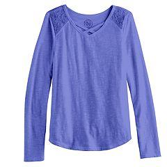 Girls 7-16 SO® Lace Shoulder Criss-Cross Neck Tee