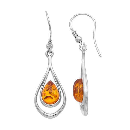 Sterling Silver Amber Double Teardrop Earrings