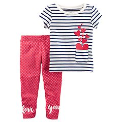 Baby Girl Carter's Striped Tee & Polka-Dot Leggings Set