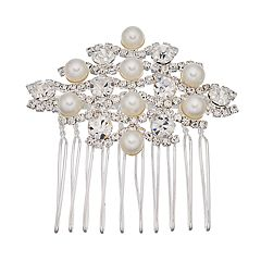 Simulated Pearl and Simulated Crystal Hair Comb