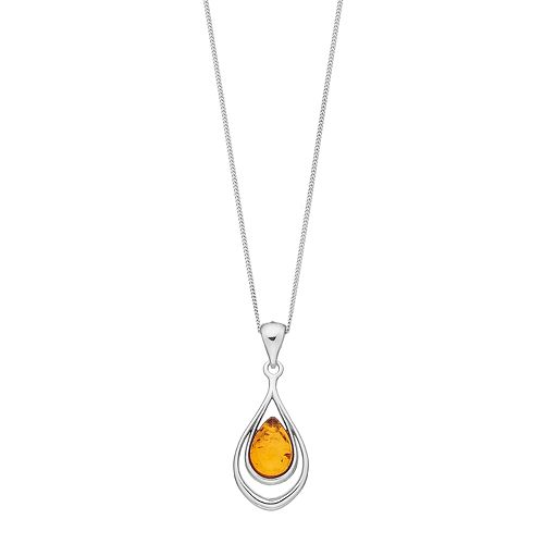 Sterling Silver Amber Double Teardrop Pendant Necklace