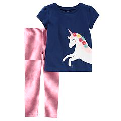 Baby Girl Carter's Unicorn Tee & Striped Leggings Set
