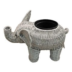 Celebrate Together Plastic Wicker Indoor / Outdoor Elephant Planter