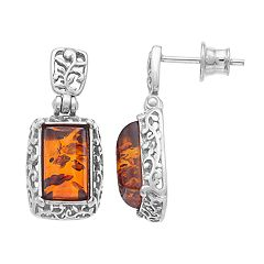 Sterling Silver Amber Rectangle Drop Earrings