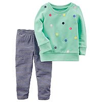 Baby Girl Carter's Polka-Dot Sweatshirt & Striped Leggings Set