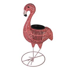 Celebrate Together Plastic Wicker Indoor / Outdoor Flamingo Planter