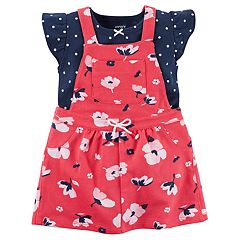 Baby Girl Carter's Floral French Terry Shortalls & Polka-Dot Bodysuit Set