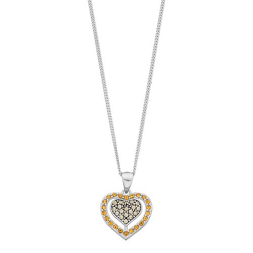 Tori Hill Sterling Silver Marcasite & Crystal Double Heart Pendant